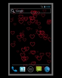 Android live wallpaper preview - heart shapes float up screen