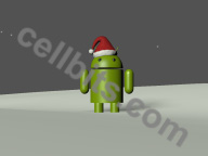 android robot as a helper for Santa Claus phone wallpaper