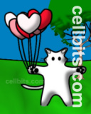 Cat and heart shaped balloons mobile phone wallpaper